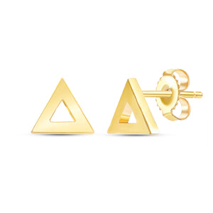 Yellow Gold Triangle Shaped Earrings