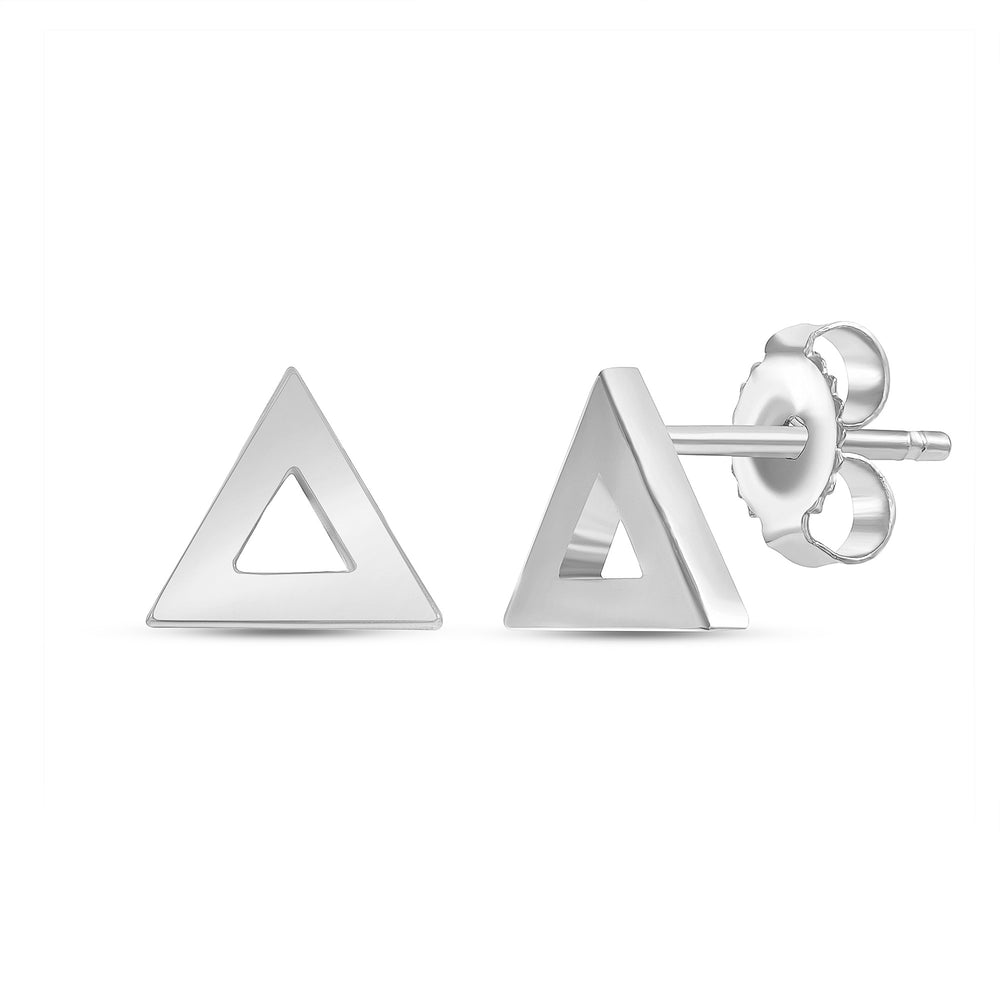 White Gold Triangle Shaped Earrings
