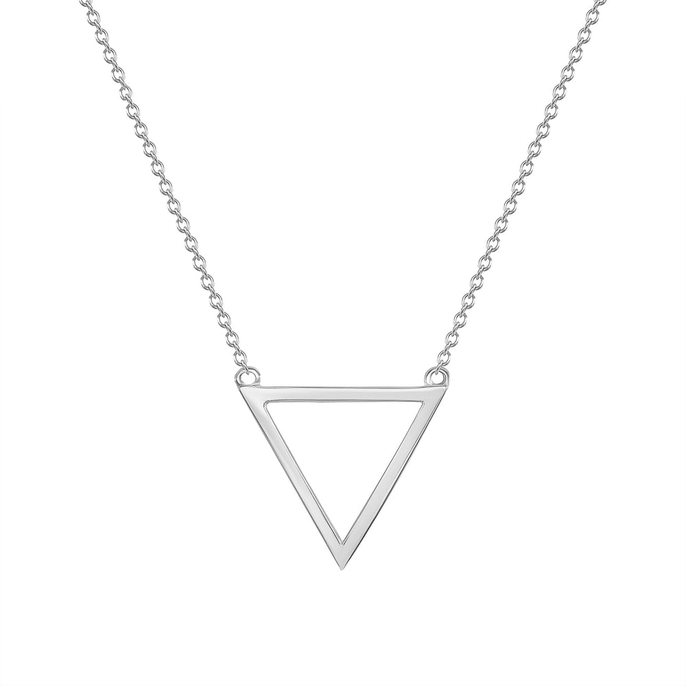White Gold Triangle Pendant Necklace