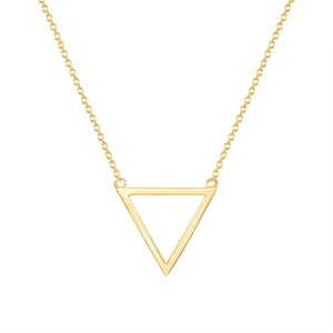 Yellow Gold Triangle Pendant Necklace