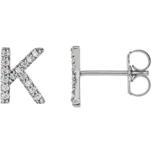 White Gold Letter K Earrings