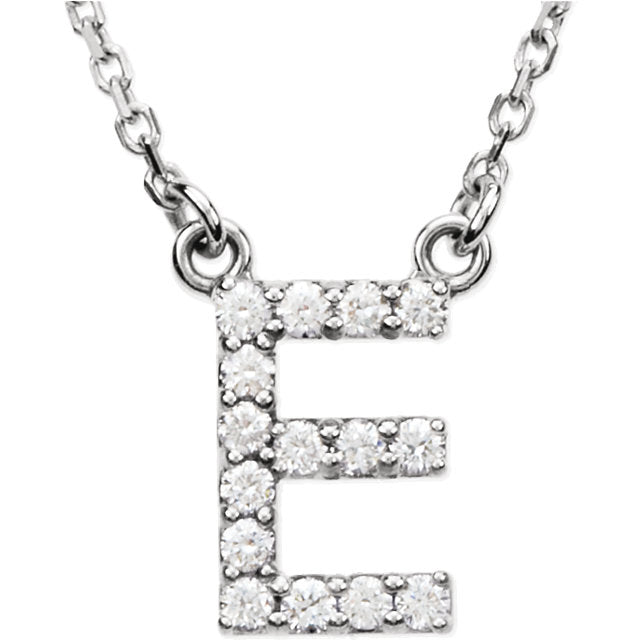 white gold letter e necklace