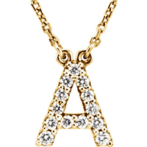 Yellow Gold Letter A necklace