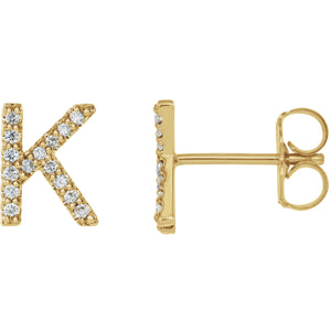 Yellow Gold Letter K Earrings