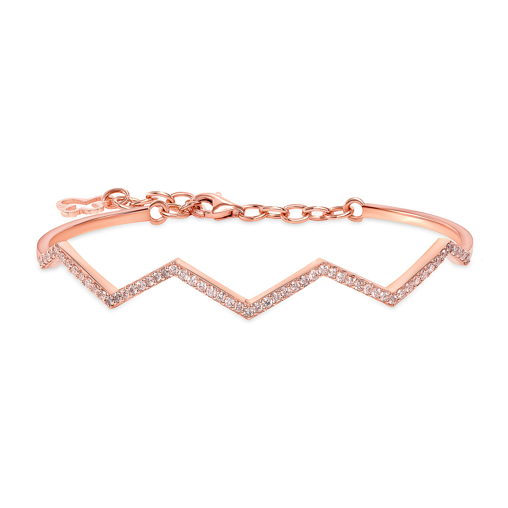 Unique Zig Zag Diamond Bangle Rose Gold