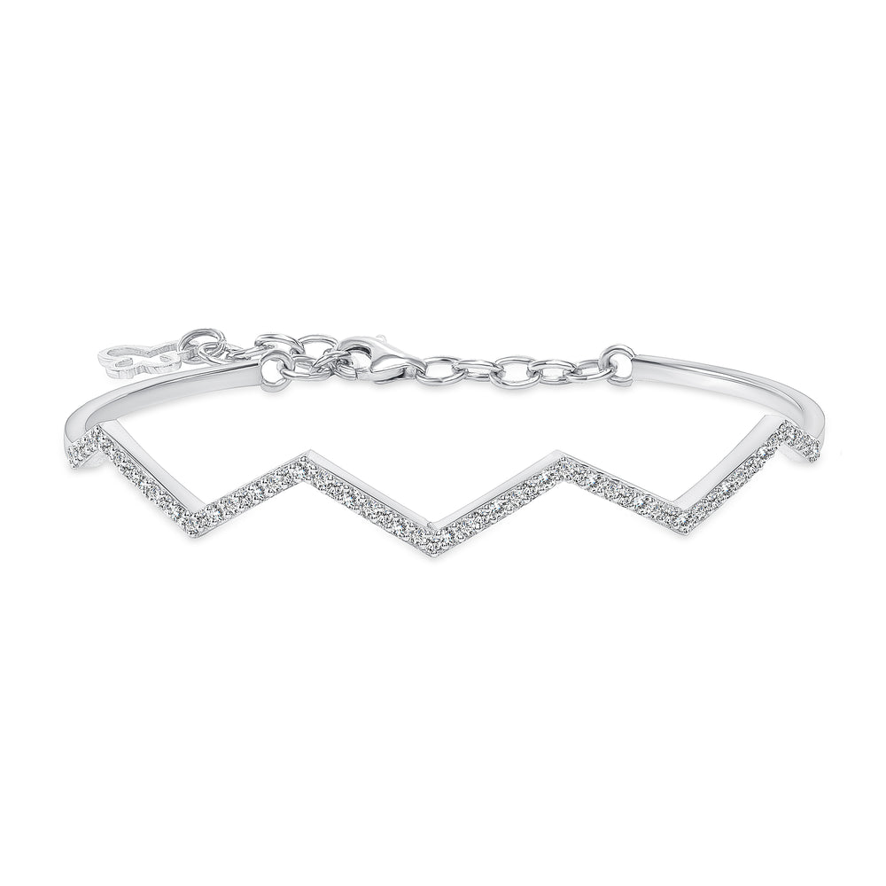 Unique Zig Zag Diamond Bangle White Gold