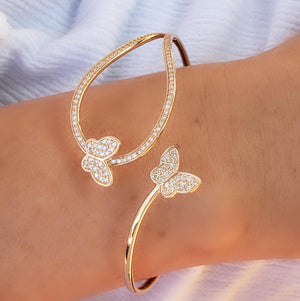 Butterfly Twist Diamond Bangle