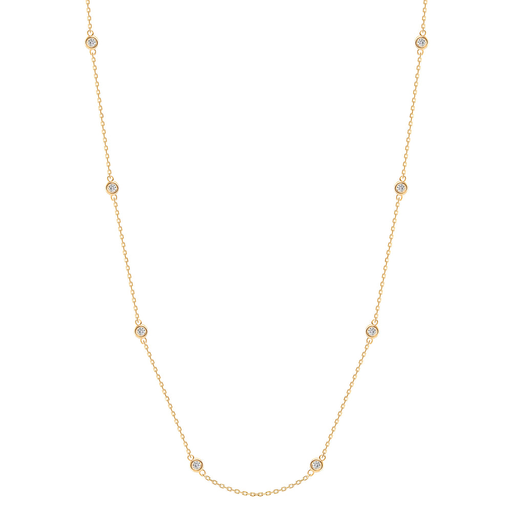 bezel train diamond necklace yellow gold