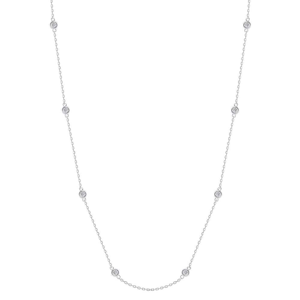 bezel train diamond necklace white gold