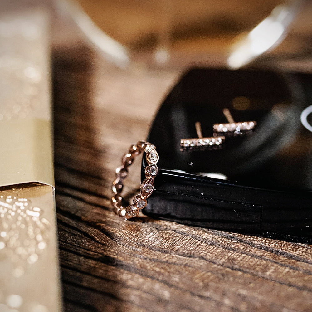 Rose Gold Carousel Infinity Ring and Diamond Bar Earrings
