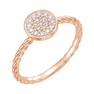 rose gold cluster rope ring