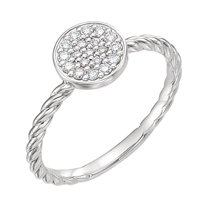 white gold cluster rope ring