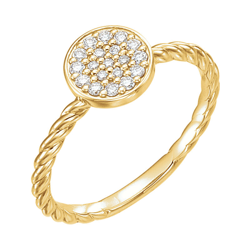 yellow gold cluster rope ring
