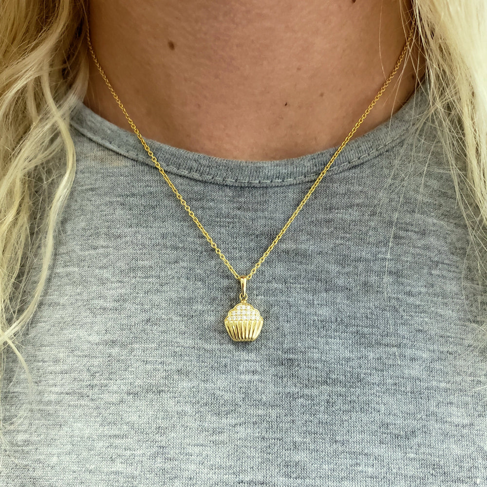 14k yellow gold diamond cupcake necklace