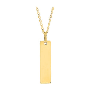 Personalized Vertical Bar Necklace Yellow Gold