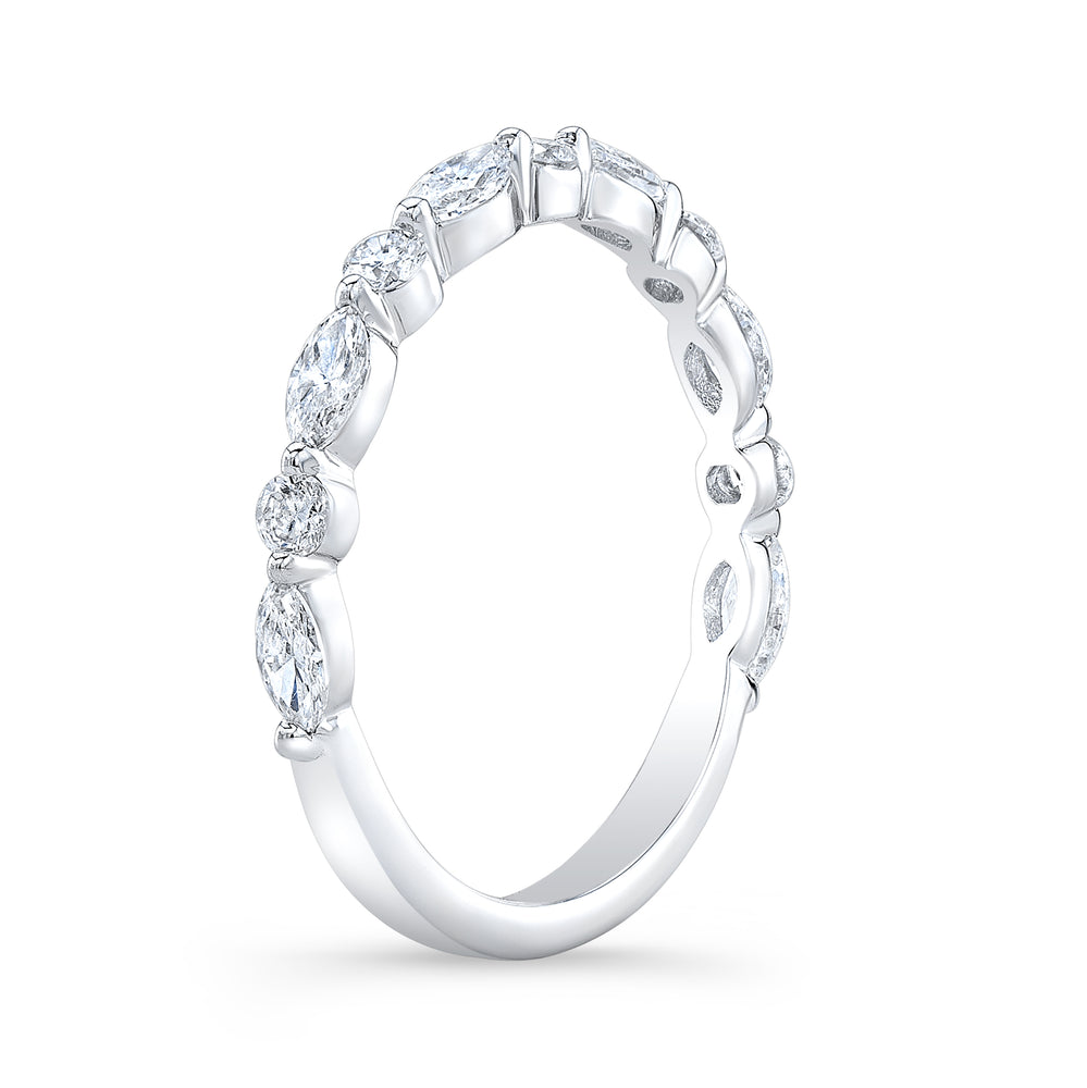 white gold marquise and round cute single prong setting diamond ring