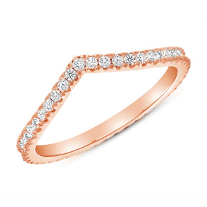 Curved Diamond Ring Band In Rose Gold