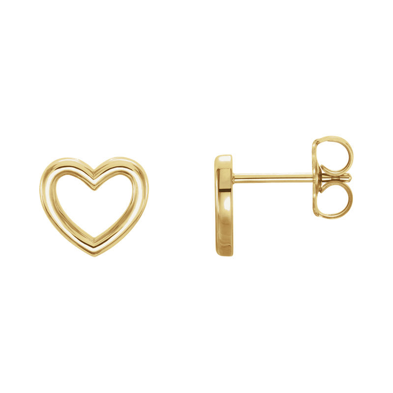 Heart Outline Stud Earrings