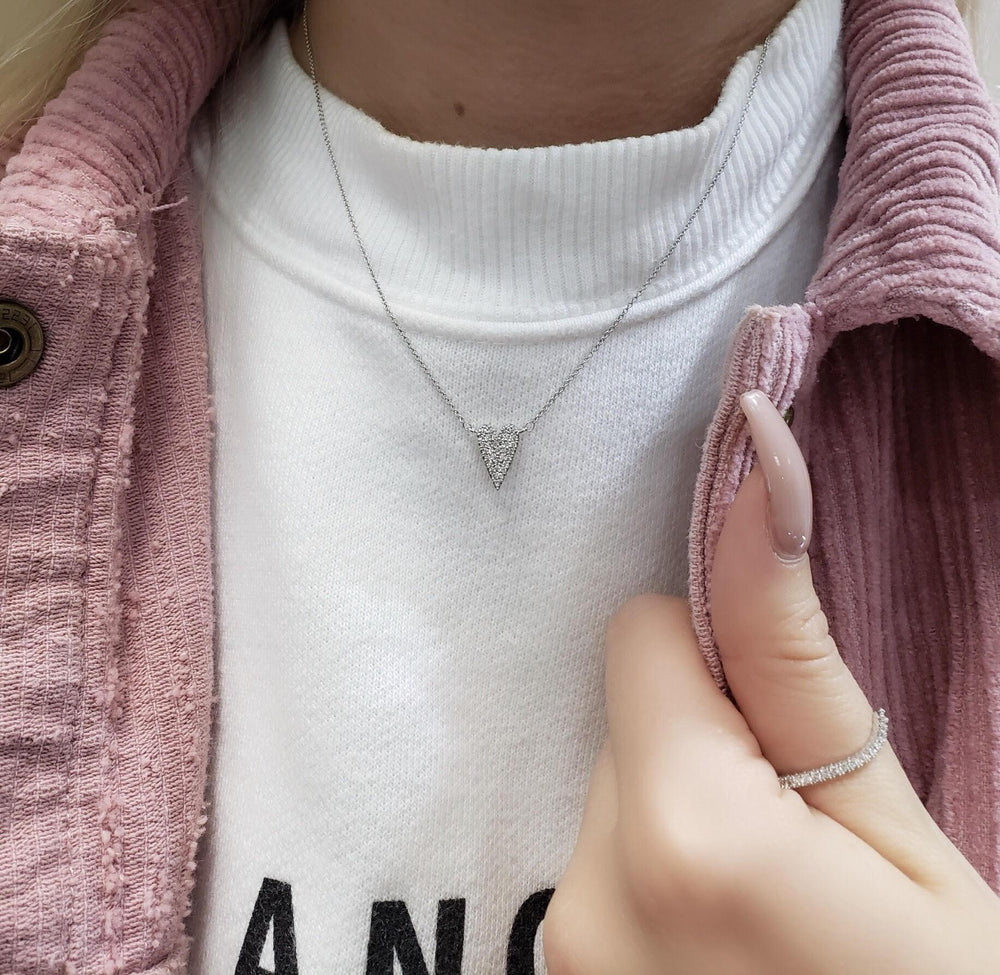 diamond heart necklace rose gold
