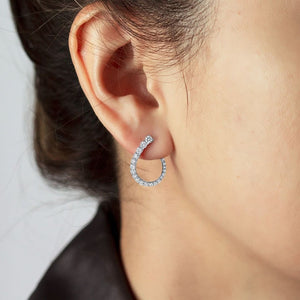 White Gold Diamond Hoop earrings on woman