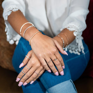Off The Vine Ring On Woman's Hand With Other Jewelry