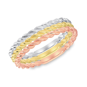 Rose, White and Yellow Gold ring set