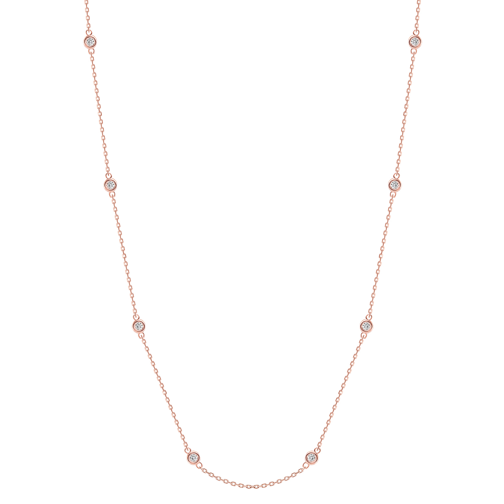 Bezel Train Diamond Necklace Rose Gold