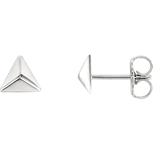 White Gold Triangle Pyramid Earrings