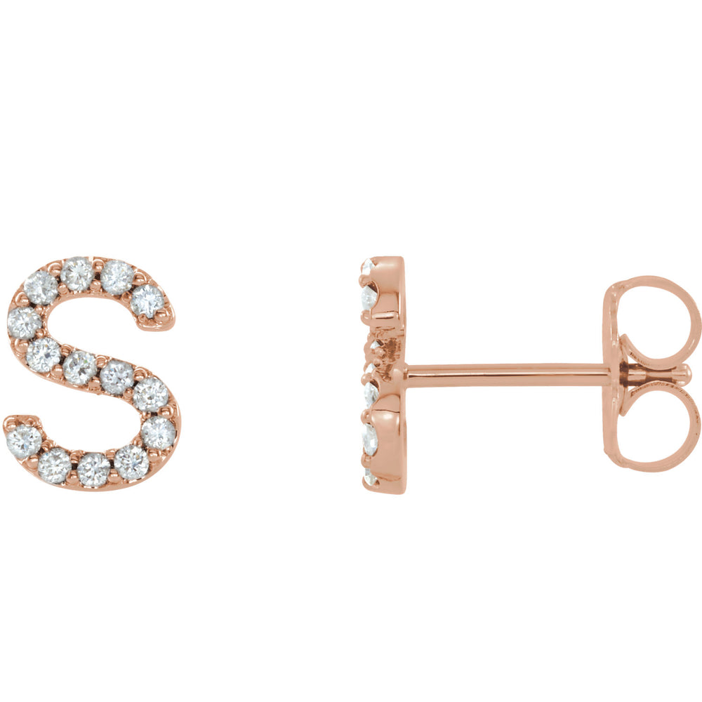 Rose Gold Letter S Earrings