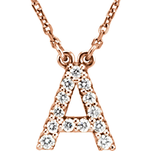 Rose Gold Letter A necklace