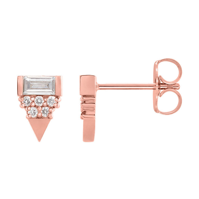 14k rose gold diamond aztec earrings