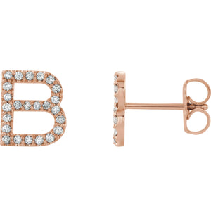 Rose Gold Letter B Earrings