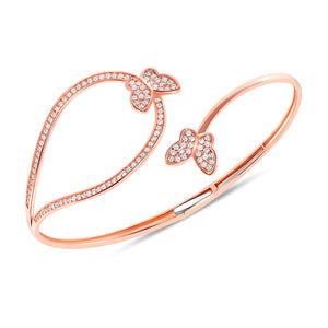 rose gold butterfly diamond twist bangle
