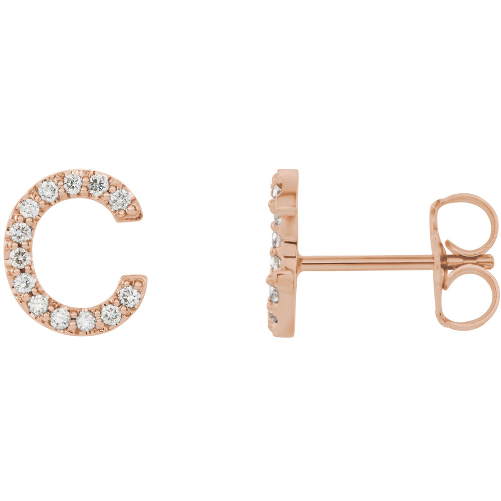 Rose Gold Letter C Earrings