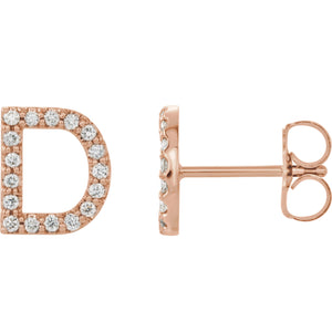 Rose Gold Letter D Earrings