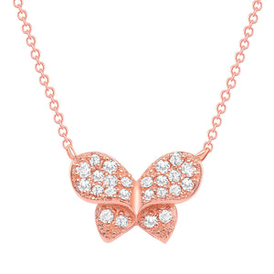 rose gold diamond bow necklace
