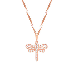 rose gold diamond dragonfly pendant necklace