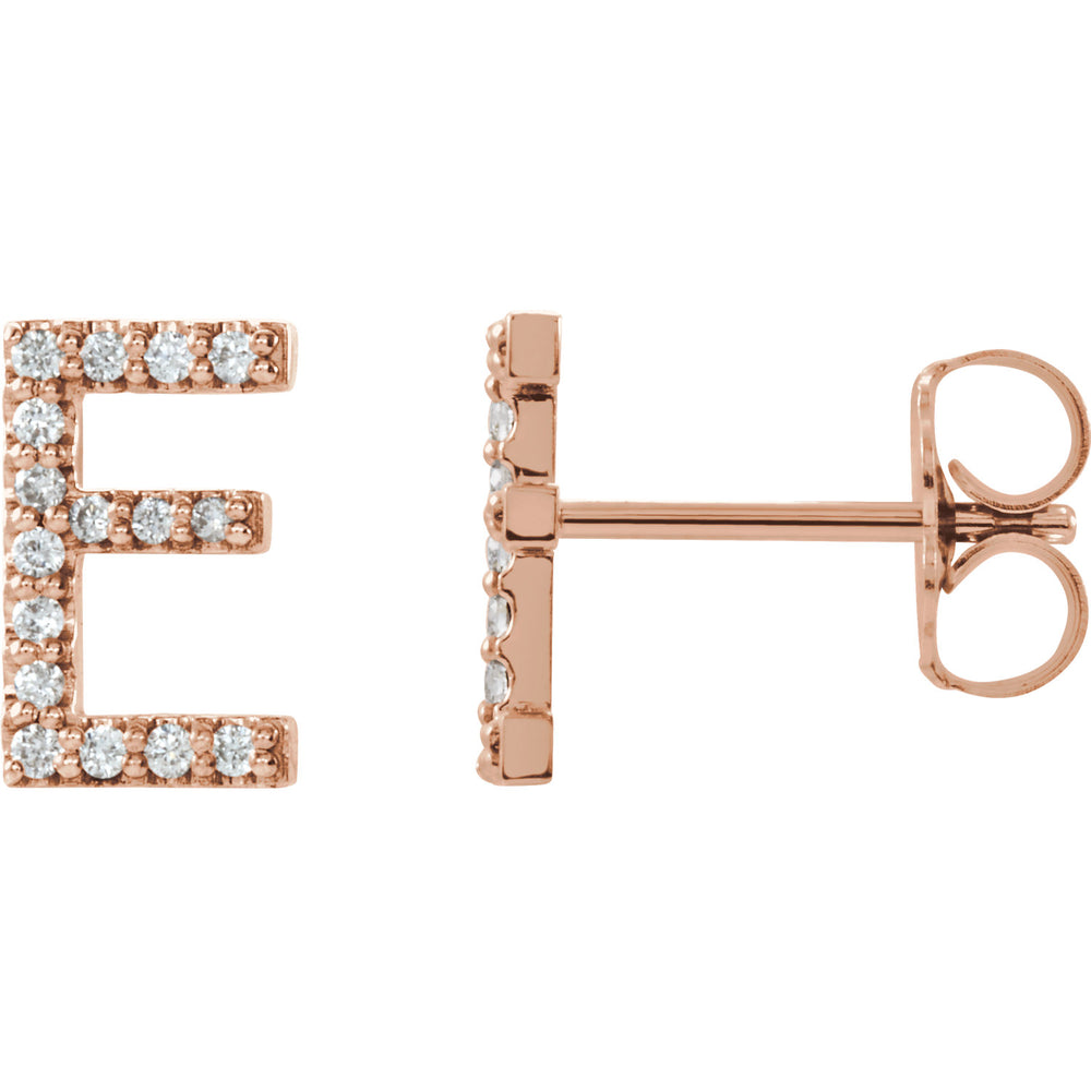 Rose Gold Letter E earrings