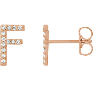 Rose Gold Letter F Earrings