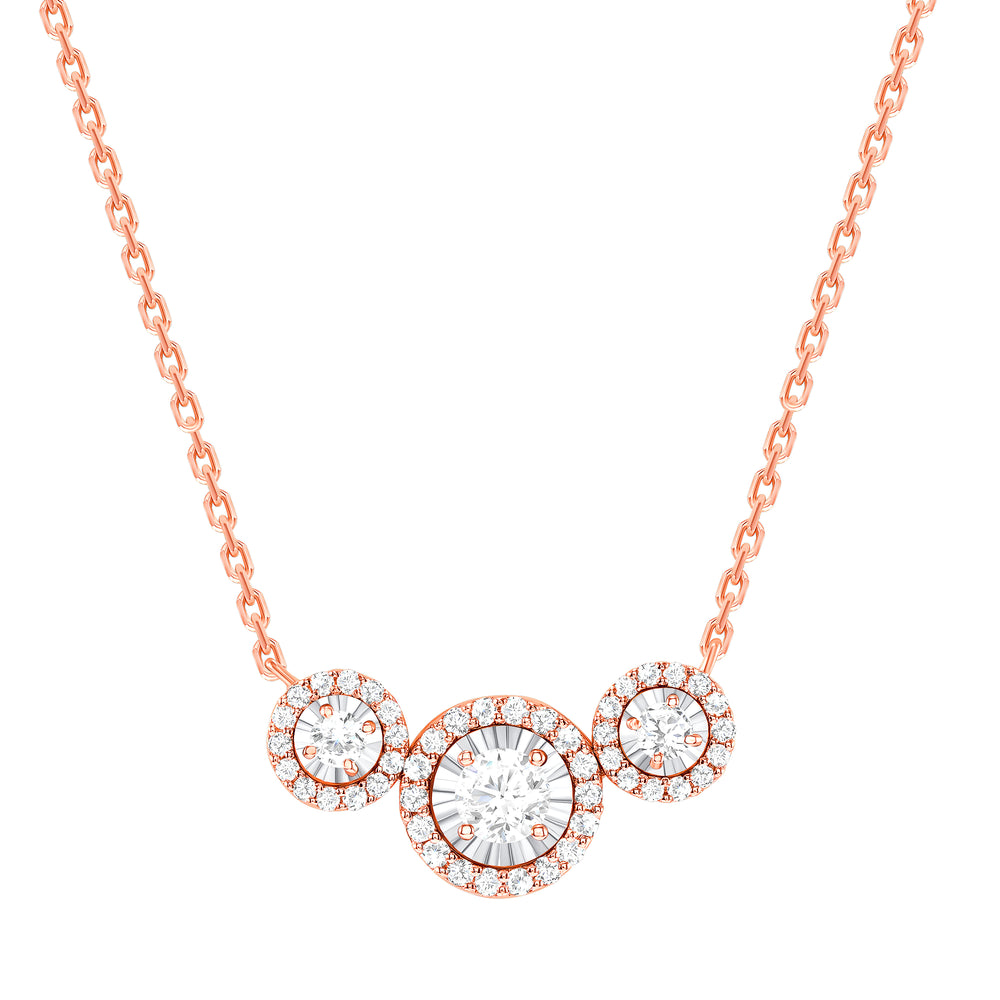 rose gold halo diamond trio necklace