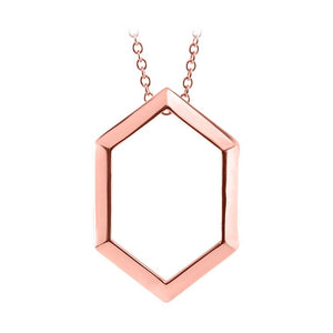 14k rose hexagon necklace