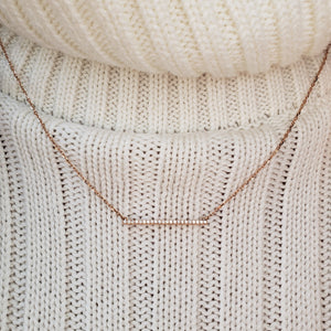 ledodi rose gold horizontal diamond bar necklace
