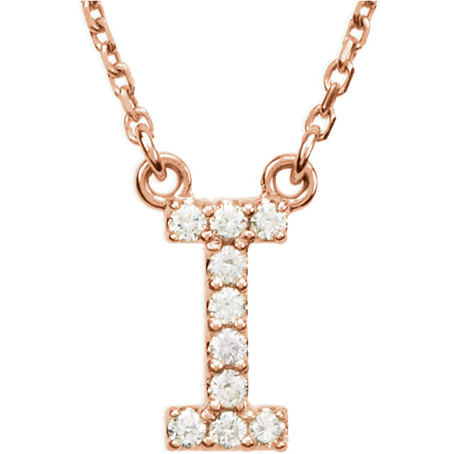rose gold letter i necklace