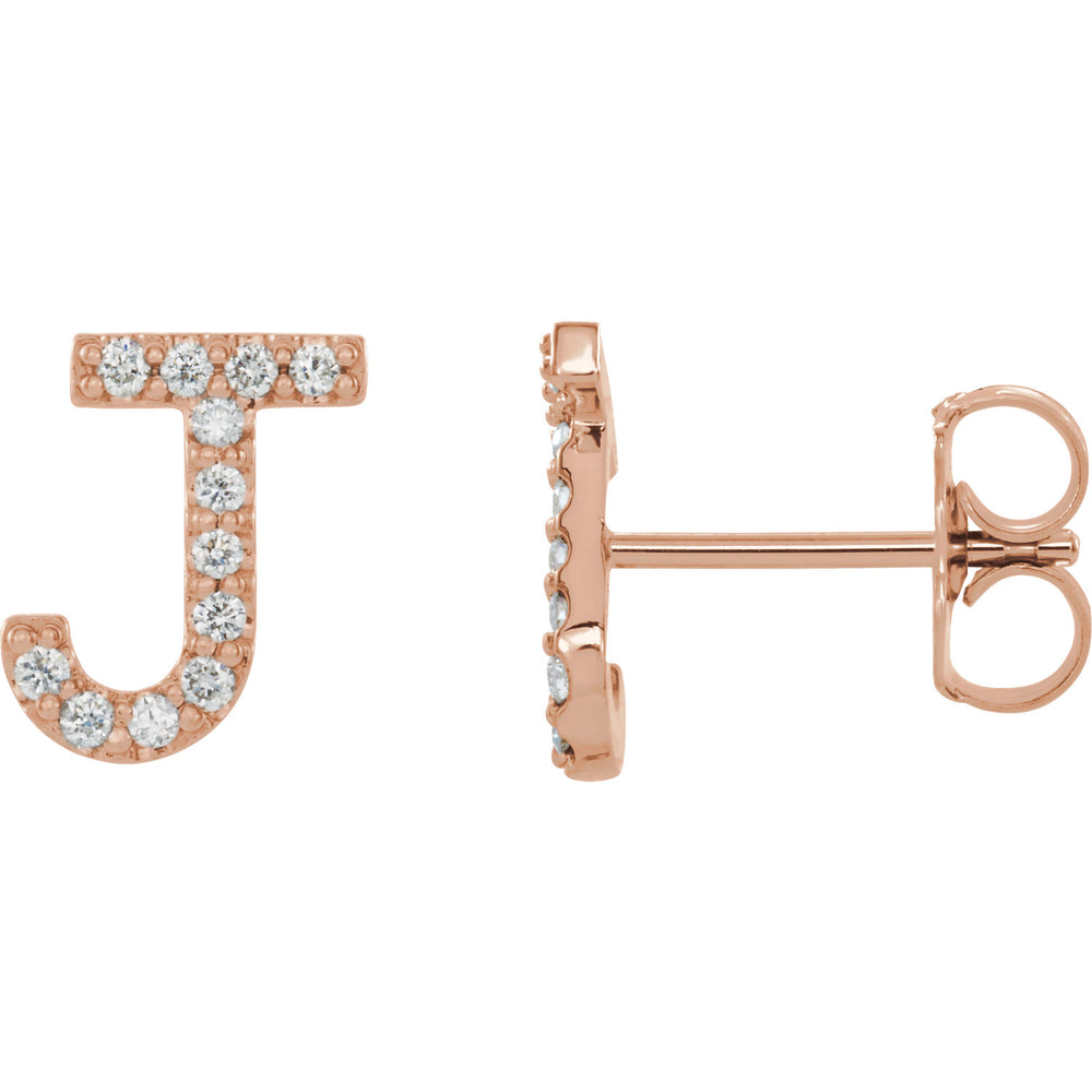 Rose Gold Letter J Earrings