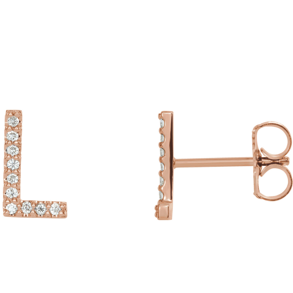 Rose Gold Letter L Earrings