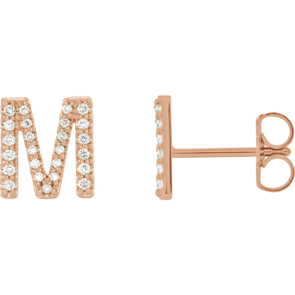 Rose Gold Letter M Earrings