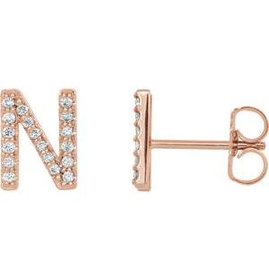 Rose Gold Letter N Earrings