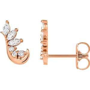 rose gold marquise and round diamond cluster hook stud earrings