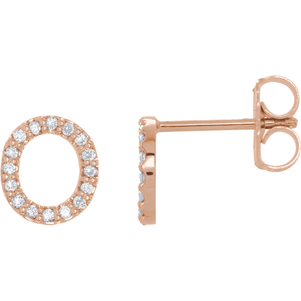 Rose Gold Letter o earrings