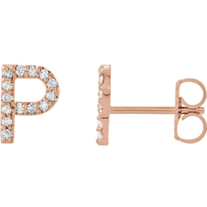 Rose Gold Letter P earrings